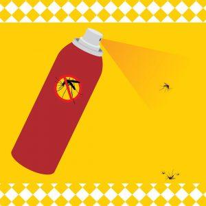 Chasse aux moustiques avec spray